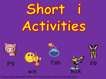 Short vowel i Word Work- Kindergarten 1st Grade Reading & Writing