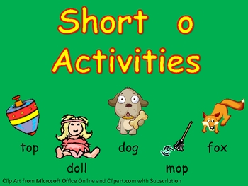 Short vowel o Word Work- Kindergarten 1st Grade Reading/ Writing