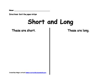 Short/long sorting worksheet