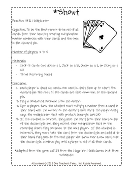 Shout! A Multiplication Facts Card Game