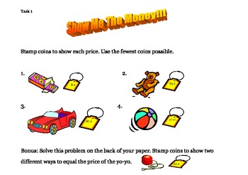 Show Me The Money- Math Center Task Cards