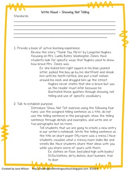 Show Not Tell Lesson Plan