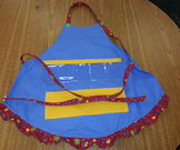 Show and Tell Apron (blue with yellow pocket)