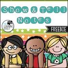 Show and Tell Notes - FREE