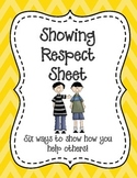 Showing Respect Sheet