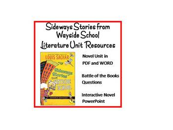 """Sideways Stories from Wayside School"", Huge Unit of Resou"