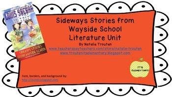 Sideways Stories from Wayside School Literature Unit