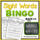 Sight Word Bingo Words Forty nine through Seventy two Blac