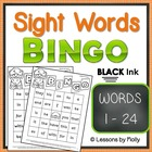 Sight Word Bingo Words One Through Twenty four Black and W