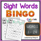 Sight Word Bingo Words One Through Twenty four Color Edition