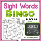 Sight Word Bingo Words Seventy three through Ninety six Bl