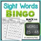 Sight Word Bingo Words Twenty five Through Forty eight Bla