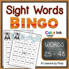 Sight Word Bingo Words Twenty five Through Forty eight Col