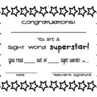 Sight Word Certificate
