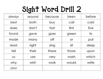 Sight Word Drill