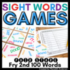 Sight Words Game: Pair Stare Fry Second Hundred, Great for