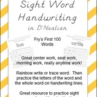 Sight Word Handwriting Sheets in D'Nealian