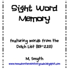 Sight Word Memory/ Flash Cards for Dolch Words 101-220