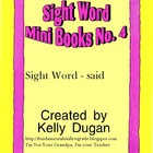 Sight Word Mini Book - Said