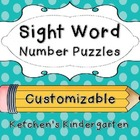 Sight Word Number Puzzles {Customizeable}