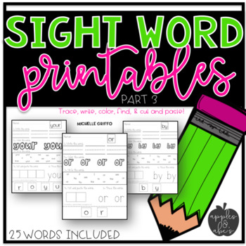 Sight Word Practice for Kindergarten Packet 3