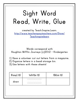 Sight Word Read, Write, Glue
