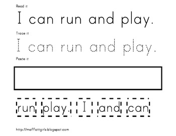 Sight Word Read it, Trace it, Paste it!