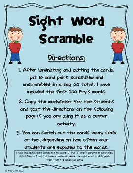Sight Word Scramble! (Fry's First 200 Words)