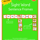 Sight Word Sentence Frames Unit 17