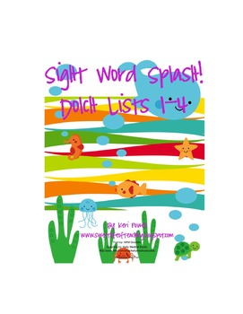 Sight Word Splash. Dolch Lists 1-4