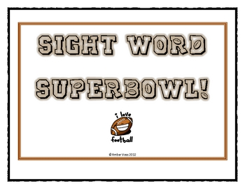 Sight Word Super Bowl