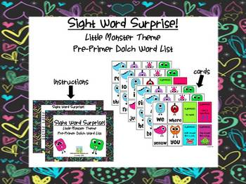 Sight Word Surprise Game - Pre Primer Dolch Words - Monsters