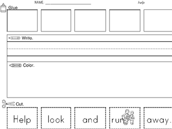 Sight Word Worksheet: Cut & Paste SET 5