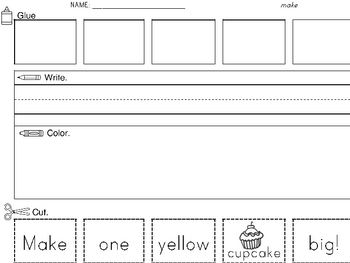 Sight Word Worksheet: Cut & Paste Sentences SET 6