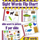 Sight Words Flipchart  -  Slide to match 25 words to pictures