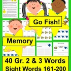 "Sight Words Literacy Centers ""Go Fish"" & ""Memory""-Sets 9&10"