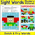 Sight Words Mystery Pictures Worksheets - Hero Theme