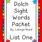 Sight Words Packet for List 1 Dolch Words