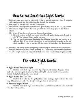 Sight Words Quick Assessment - 2nd grade - FREEBIE!