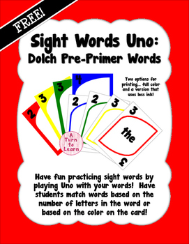 Sight Words Uno - Pre-Primer Dolch Words FREEBIE