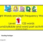 Sight Words and High Frequency Words Level 1 American English