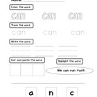 Sight for Printable Packet for PreK