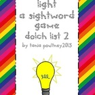 Sight word game Turn on the Light list 2