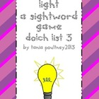 Sight word game Turn on the Light list 3