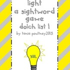 Sight word game Turn on the Light