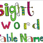 Sightword Table Names