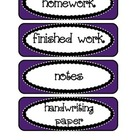 Signs / Labels for Classroom Paper Trays, in Purple