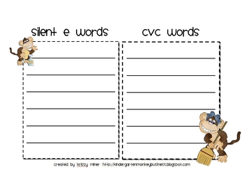Silent E Read and Sort Activity