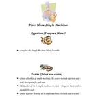 Simple Machines Diner Menu