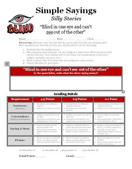 Simple Saying, Silly Stories writing activity (Blind in on